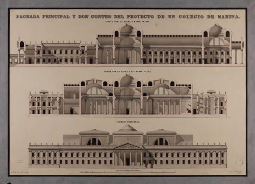 Alzado de la fachada principal y las secciones ABCD y EF de un colegio de Marina en Sevilla