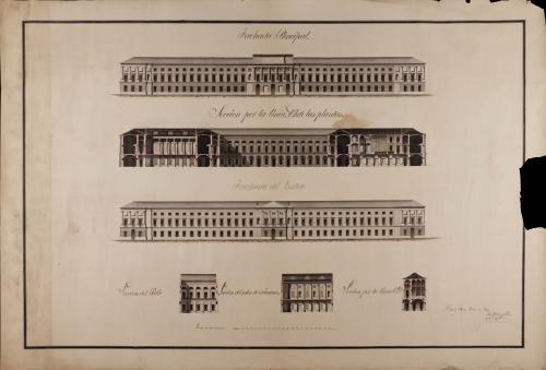 Alzado de las fachadas principal y posterior, y las secciones AB, CD, del patio y salón de exámenes de un colegio nacional de marina