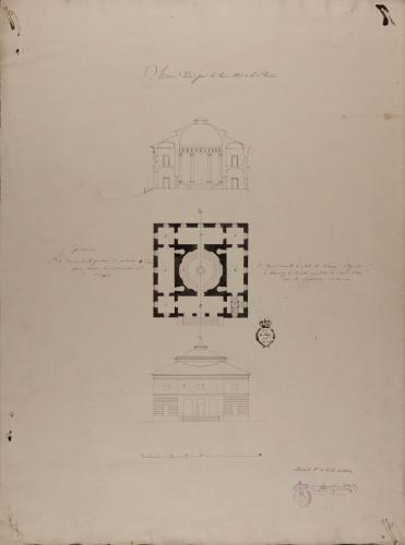 Planta, alzado de la fachada principal y sección AB de un anfiteatro anatómico