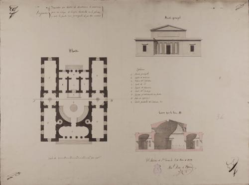 Planta, alzado de la fachada principal y sección AB de un teatro de demostración de anatomía para un colegio de cirugía