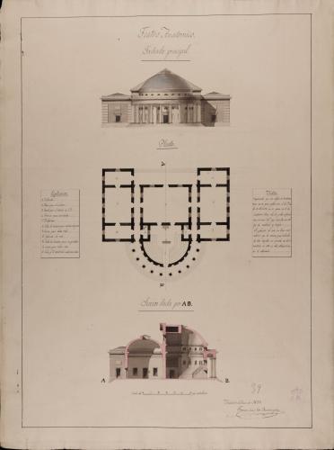 Planta, alzado de la fachada principal y sección AB de un teatro anatómico para un colegio de cirugía y medicina