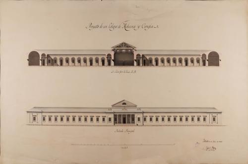 Alzado de la fachada principal y sección AB de un colegio de medicina y cirugía