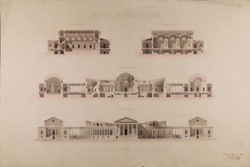 Alzado de la fachada principal y las secciones AB, CD y EF de una escuela de medicina