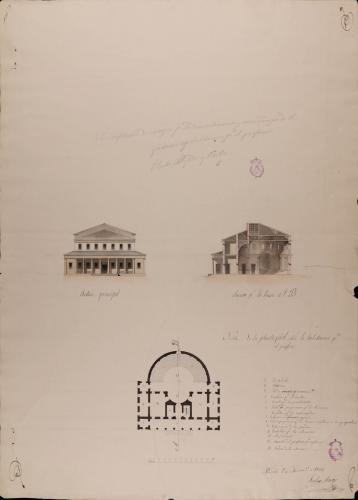 Planta, alzado de la fachada principal y sección AB de un anfiteatro de cirugía para la demostración y enseñanza de las parteras, con habitación para el profesor