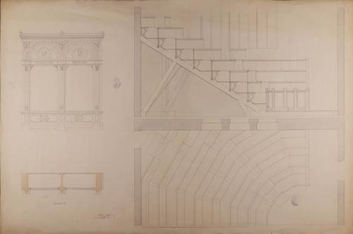 Detalle de la planta y el alzado de los armarios del reservado y de las gradas del anfiteatro de un museo anatómico en un colegio de medicina