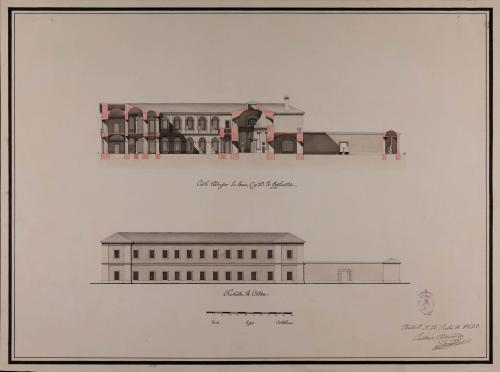 Alzado de la fachada lateral y sección CD de un colegio de farmacia