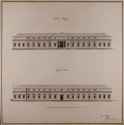 Alzado de las fachadas principal y lateral de un colegio de farmacia con habitaciones para 20 colegiales