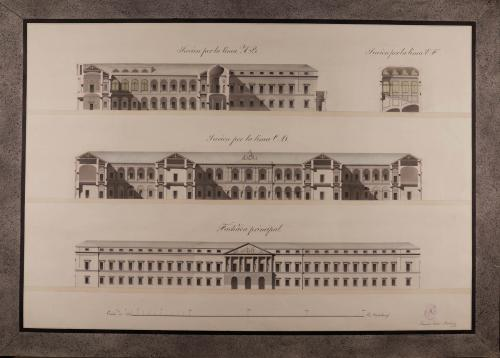 Alzado de la fachada principal y secciones AB, CD y EF de un colegio de medicina , cirugía y farmacia