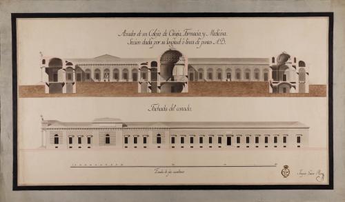 Alzado de la fachada lateral y sección AB de un colegio de cirugía, farmacia y medicina