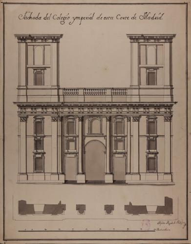 Planta y alzado de la facha del colegio imperial de Madrid