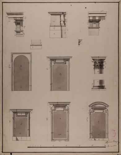 Detalles de los elementos constructivos de la fachada de la iglesia del colegio imperial de Madrid