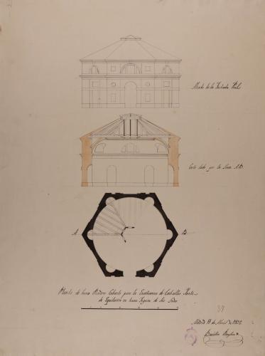 Planta, alzado de la fachada principal y sección AB de un picadero cubierto para la enseñanza de los caballos y arte de la equitación.