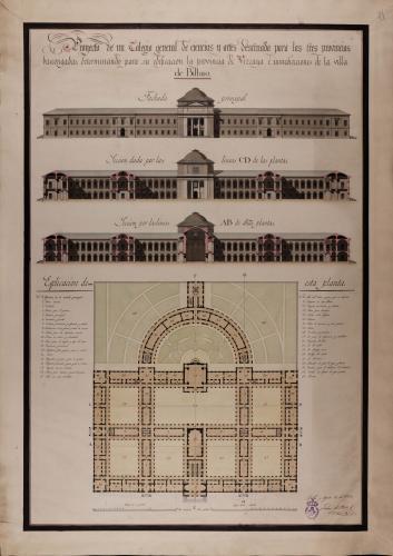 Planta, alzado de la fachada principal y sección AB de un colegio de ciencias y artes para las tres provincias vascongadas en las inmediaciones de la villa de Bilbao