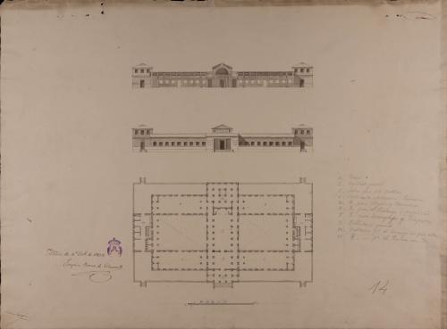 Planta, alzado de la fachada principal y sección de un colegio de marina