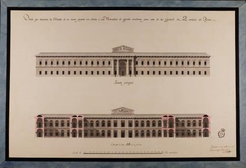 Alzado de la fachada principal y sección AB de una universidad de segunda enseñanza para una capital de provincia