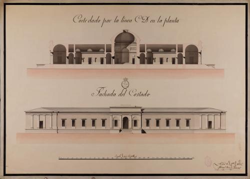 Alzado de la fachada lateral y sección CD de una Universidad