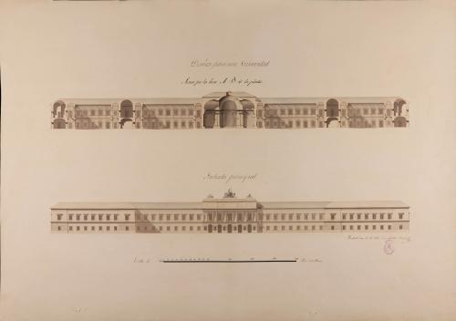 Alzado de la fachada principal y sección AB de una universidad