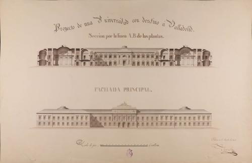 Alzado de la fachada principal y sección AB de una universidad en Valladolid