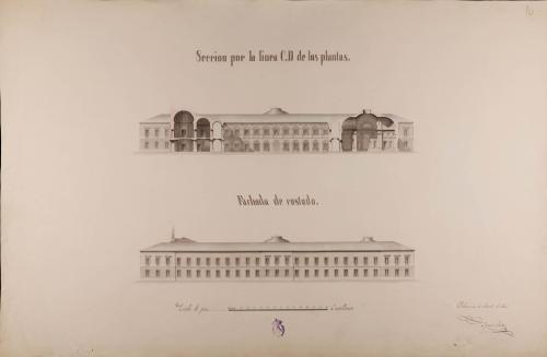 Alzado de la fachada lateral y sección CD de una universidad en Valladolid