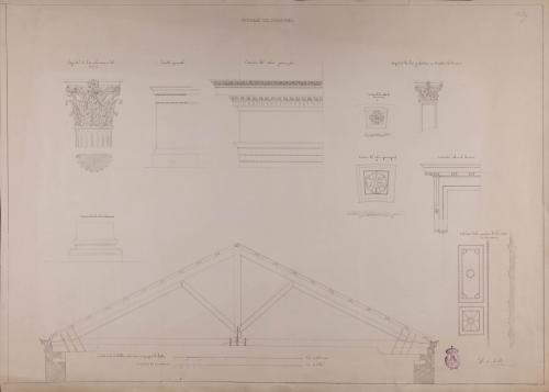 Detalles del capitel, zócalo, cornisa, basa, casetones, puerta, tableros de las puertas y cimbras de la cubierta de un paraninfo de universidad