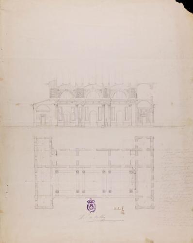 Planta y sección de un paraninfo o salón de actos públicos de universidad