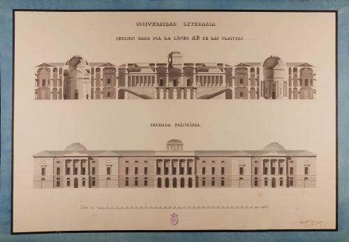 Alzado de la fachada principal  sección AB de una universidad literaria en La Coruña