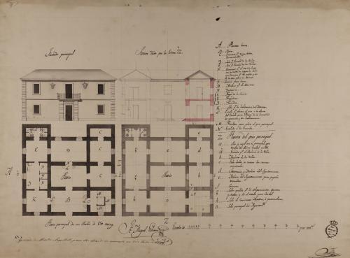 Plantas baja y principal, alzado de la fachada principal y sección `Z `z de una casa de ayuntamiento con escuela para un pueblo de 150 vecinos