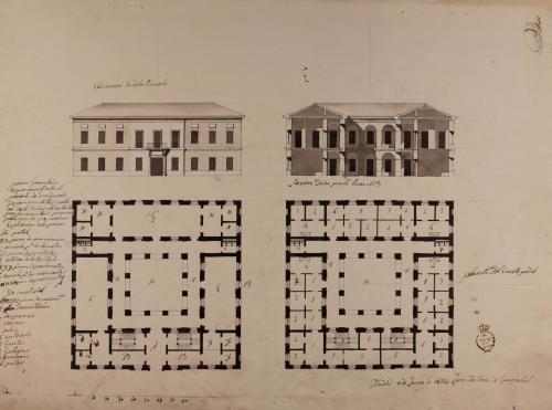 Planta baja y principal, alzado de la fachada principal y sección AB de una escuela de primeras letras
