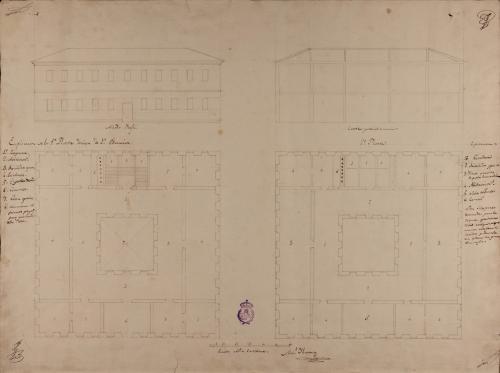 Planta baja y principal, alzado de la fachada principal y sección de una casa de primera educación