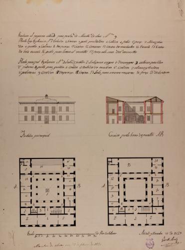 Planta baja y principal, alzado de la fachada principal y sección de un ayuntamiento con escuela de primeras letras