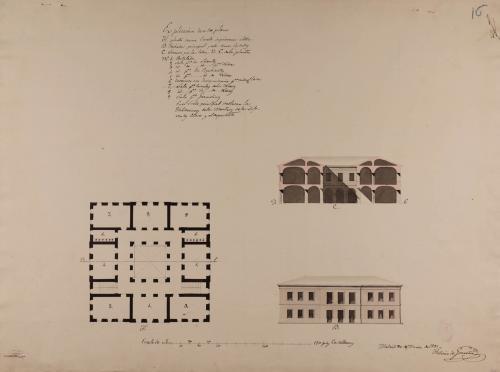 Planta, alzado de la fachada principal y sección DE de una escuela de primeras letras