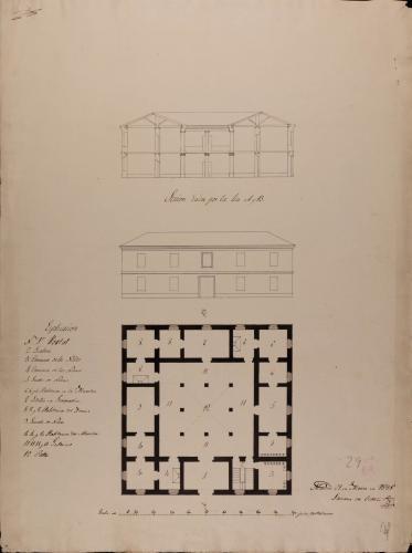 Planta baja, alzado de la fachada principal y sección AB de una escuela de primera enseñanza