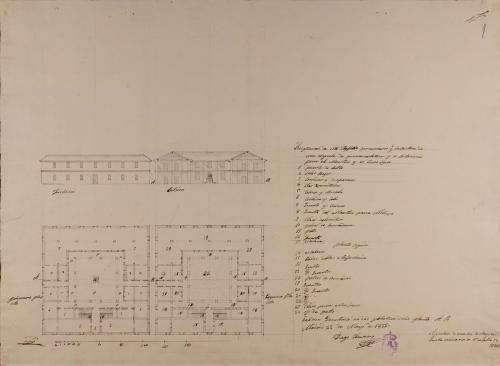 Plantas baja y principal; alzado de la fachada principal y sección AB de una escuela de primeras letras
