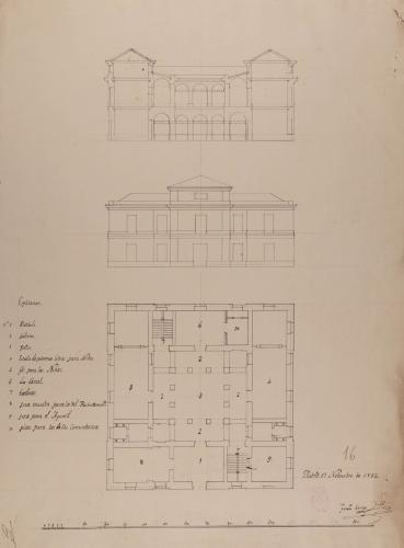 Planta, alzado de la fachada principal y sección de una casa ayuntamiento con cárcel y escuela de primeras letras, para un pueblo de 250 vecinos