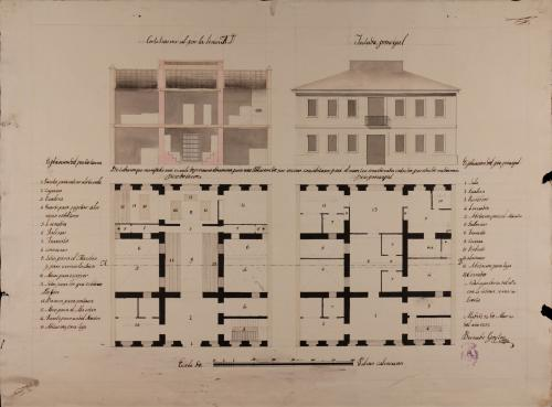 Plantas baja y principal, alzado de la fachada principal y sección AD de una escuela de primera educación para una población de 500 vecinos con habitación para el maestro