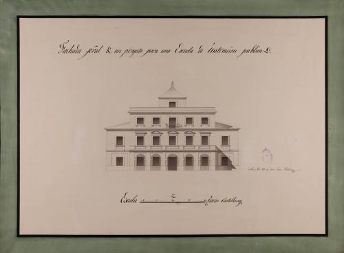 Alzado de la facha principal de una escuela de instrucción pública con escuela de primeras letras, clase de latinidad y matemáticas