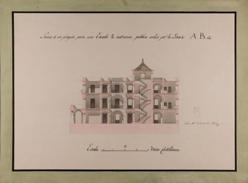 Sección AB de una escuela de instrucción pública con escuela de primeras letras, clase de latinidad y matemáticas
