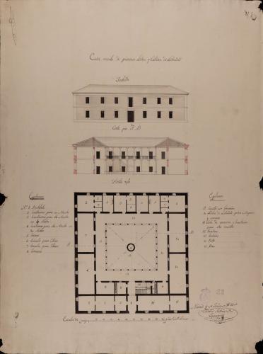 Planta baja, alzado de la fachada principal y sección AB de una escuela de primeras letras y cátedra de latinidad, para una población de 500 vecinos