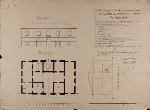 Planta principal, alzado de la fachada principal y sección AB de una escuela de primaria para una villa de 5000 vecinos