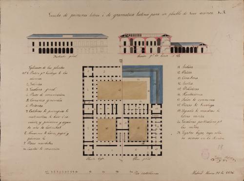 Mitad de las plantas baja y principal, alzado de la fachada principal y sección ABd de una escuela de primeras letras y de gramática latina, para un pueblo de 1.000 vecinos