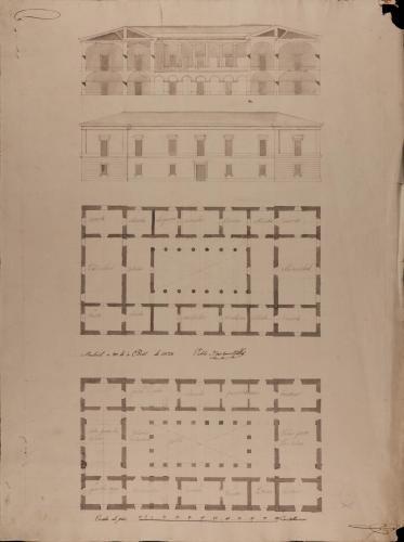 Plantas baja y principal, alzado de la fachada principal y sección de una escuela de primeras letras con cátedra de latinidad