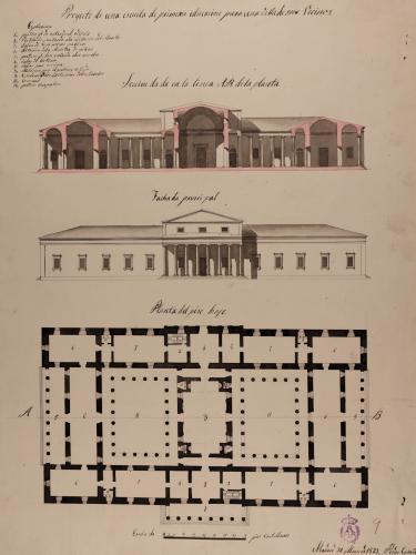 Planta baja, alzado de la fachada principal y sección AB de una escuela de primera educación para una villa de 5.000 vecinos.