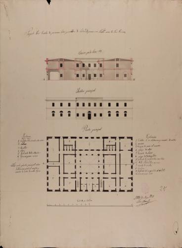 Planta principal, alzado de la fachada principal y sección AB de una escuela de primeras letras y cátedra de latinidad, para un pueblo de 500 vecinos