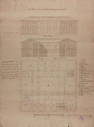 Planta baja, alzado de la fachada principal y sección AB de una escuela de primeras letras y cátedra de latinidad, para un pueblo de 500 vecinos