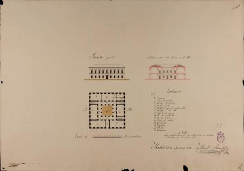 Planta baja, alzado de la fachada principal y sección AB de una escuela de primeras letras con cátedra de latinidad, para un pueblo de 500 vecinos
