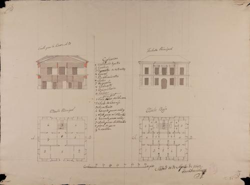Plantas baja y principal, alzado de la fachada principal y sección AB de una casa ayuntamiento con cárcel y escuela de primeras letras, para un pueblo de 250 vecinos.