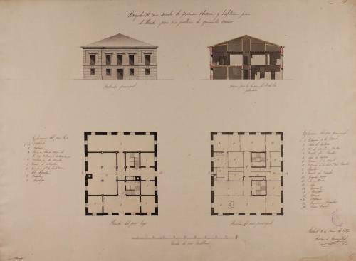 Plantas baja y principal, alzado de la fachada principal y sección AB de una escuela de primera educación para una población de 500 vecinos
