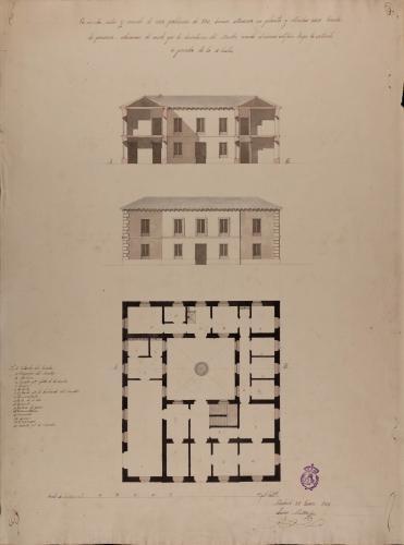 Planta, alzado de la fachada principal y sección AB de una escuela de primera educación para una población de 500 vecinos