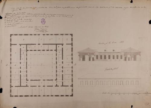 Planta, alzado de la fachada principal y sección AB de una escuela de primeras letras y cátedra de latinidad, para un pueblo de unos 500 vecinos
