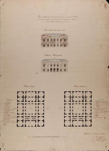 Plantas baja y principal, alzado de la fachada principal y sección AB de una escuela de primeras letras y de gramática latina, para un pueblo como de 1.000 vecinos